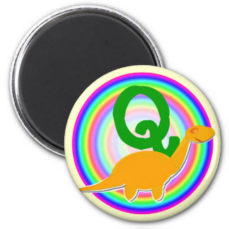 Letter Q Orange Dinosaur Diplodocus Fridge Magnet