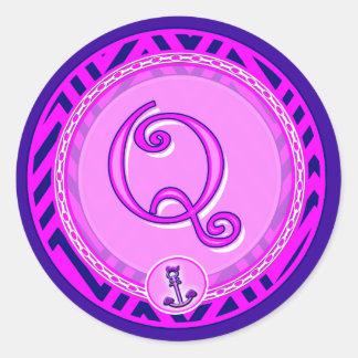 Letter 'Q' Pink Nautical Chevron w/ Anchor  - Classic Round Sticker