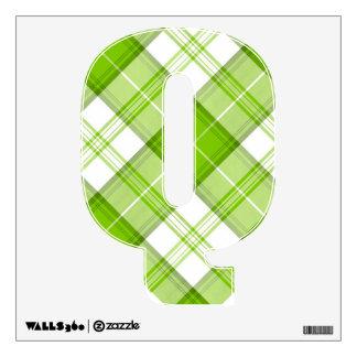letter Q punk plaid tartan rockabilly vintage emo Wall Sticker