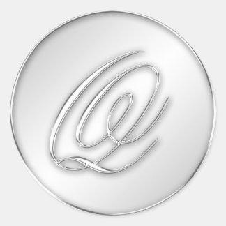 Letter Q script initial faux silver monogram favor Round Sticker