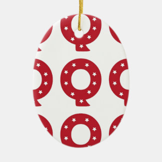 Letter Q - White Stars on Dark Red Ceramic Ornament