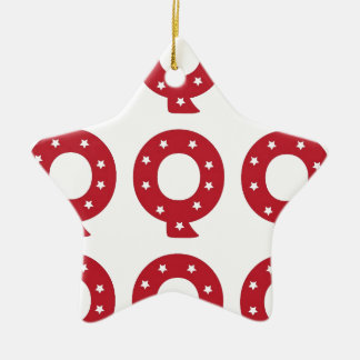 letter q white stars on dark red ceramic ornament