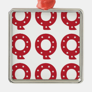 Letter Q - White Stars on Dark Red Metal Ornament