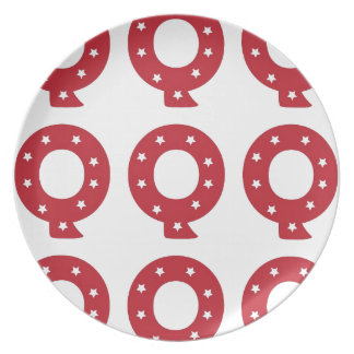 Letter Q - White Stars on Dark Red Plate
