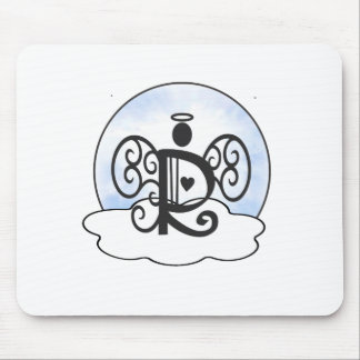 Letter R Alphabet Initial Monogram w Angel Clouds Mouse Pad