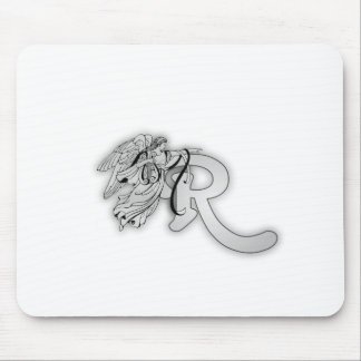 Letter R Angel Monogram Initial Mouse Pad
