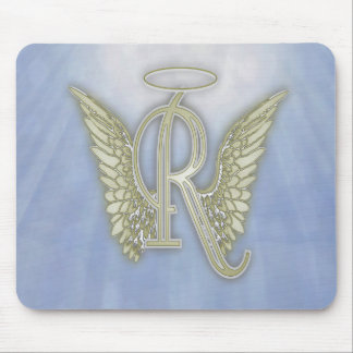 Letter R Angel Monogram Mouse Pad