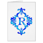 Letter R Blue Greeting Cards