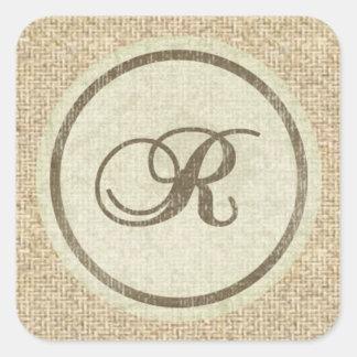 Letter R burlap rustic design stickers