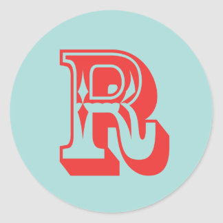 Letter R carnival style monogram initial favor Classic Round Sticker