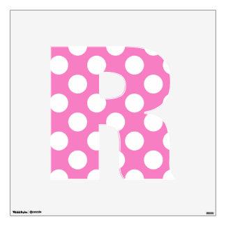 letter R cute kawaii polka dots shabby chic medium Wall Decal