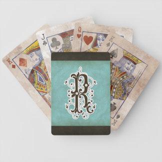 Letter R - Elegant Monogram Decor Modern Vintage Bicycle Playing Cards