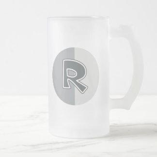 Letter R Frosted Glass Beer Mug
