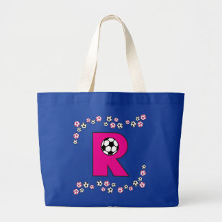 Letter R in Soccer Pink Monogram Tote