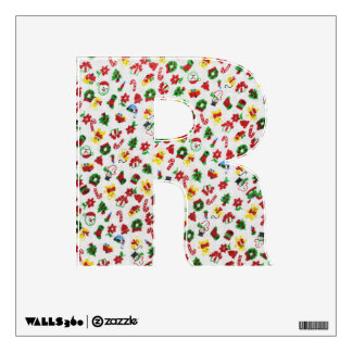 Letter  R Initial - Christmas Variety of Doodles Wall Sticker
