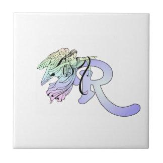 Letter R Initial Monogram Guardian Angel Blue Past Ceramic Tile