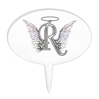 Letter R Initial Monogram with Angel Wings & Halo Cake Topper