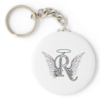 Letter R Initial Monogram with Angel Wings & Halo Key Chain