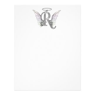 Letter R Initial Monogram with Angel Wings & Halo Letterhead