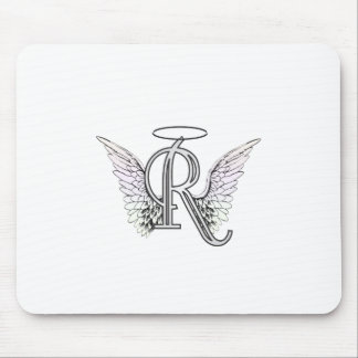 Letter R Initial Monogram with Angel Wings & Halo Mouse Pad