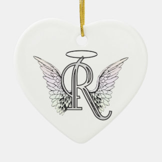 Letter R Initial Monogram with Angel Wings & Halo Ornament