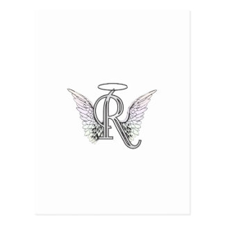 Letter R Initial Monogram with Angel Wings & Halo Postcard
