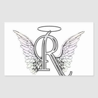 Letter R Initial Monogram with Angel Wings & Halo Rectangle Sticker