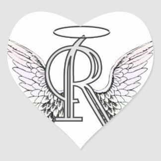 Letter R Initial Monogram with Angel Wings & Halo Stickers