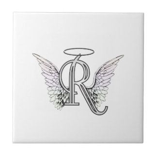 Letter R Initial Monogram with Angel Wings & Halo Tile