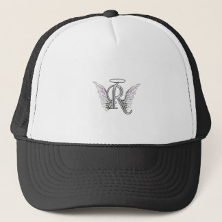 Letter R Initial Monogram with Angel Wings & Halo Trucker Hat
