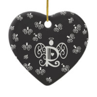 Letter R Initial Monogram with Angels Christmas Tree Ornaments