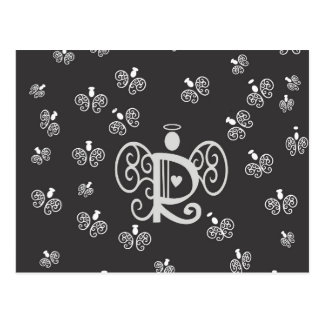 Letter R Initial Monogram with Angels Postcard