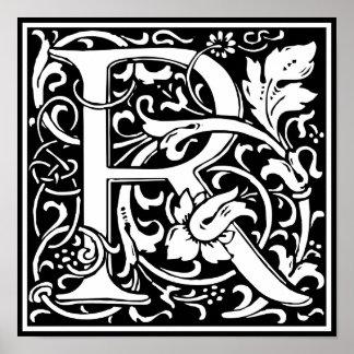 Letter R Medieval Monogram Vintage Initial Poster
