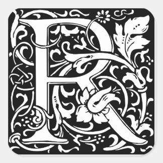 Letter R Medieval Monogram Vintage Initial Square Sticker