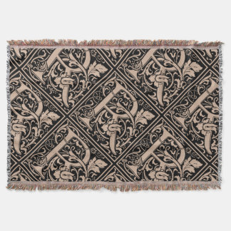 Letter R Medieval Monogram Vintage Initial Throw Blanket