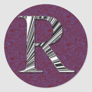 Letter R Monogram Classic Round Sticker