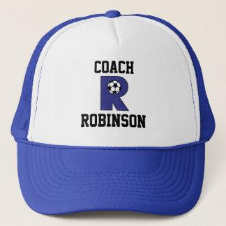Letter R Monogram in Soccer Blue Trucker Hat