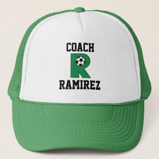 Letter R Monogram in Soccer Green Trucker Hat
