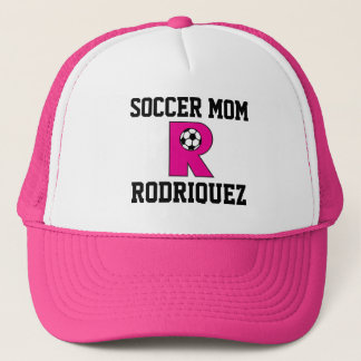 Letter R Monogram in Soccer Pink Trucker Hat