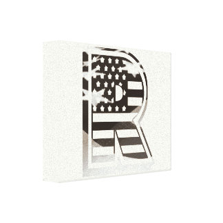 Letter R Monogram Initial Patriotic USA Flag Canvas Print