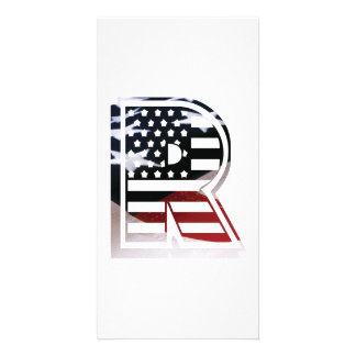 Letter R Monogram Initial Patriotic USA Flag Card