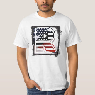 Letter R Monogram Initial Patriotic USA Flag T-Shirt