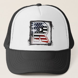 Letter R Monogram Initial Patriotic USA Flag Trucker Hat
