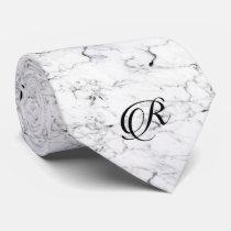 Letter R monogram Marble texture Neck Tie