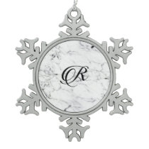 Letter R monogram Marble texture Snowflake Pewter Christmas Ornament
