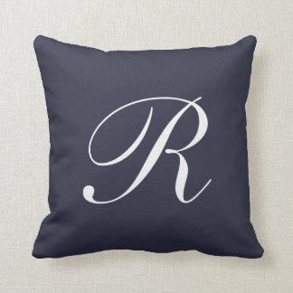 Letter R Navy Blue Monogram Pillow