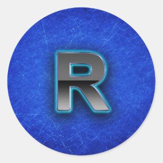 Letter R - neon blue edition Classic Round Sticker