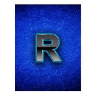 Letter R - neon blue edition Postcard