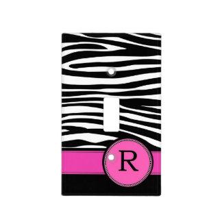 Letter R pink Monogram Zebra stripe Light Switch Cover