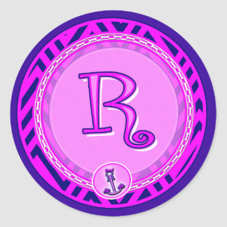 Letter 'R' Pink Nautical Chevron w/ Anchor  - Classic Round Sticker
